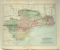 Original 1882 Map of The County of Waterford, Ireland by George Philip. Antique