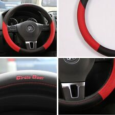 "Black & Red PVC Leather Steering Wheel Cover Chevy Luxury Sport 14""-15"" NON-SLIP"