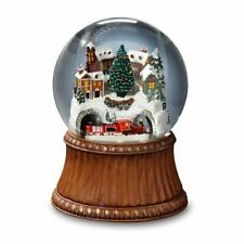 The San Francisco Music Box Company Rotating Train Mountain Village Snow Globe