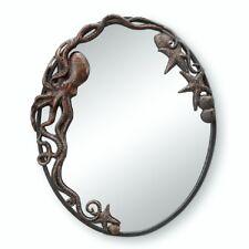 Octopus Oval Wall Mirror Hanging Art Decor Coastal Nautical Beach Ocean Metal