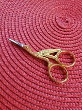 "Stork Sewing Embroidery Scissors Gold Plated 3.5"" Bird Shape • Pakistan"