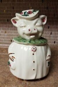 Vintage Shawnee Pottery Winnie PIG COOKIE JAR Clover Shamrock Green Collar USA