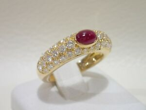 CARTIER 18k yellow gold ring with ruby & diamonds size 52