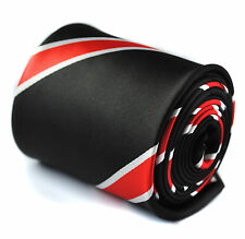 """Black & Red Striped Mens Tie by Frederick Thomas RRP£19.99 Classic (1 1/2"""" - 3"""")"""