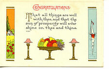 Fruit-Sailboat-House-Art Deco Drawing-Vintage Congratulations Greeting Postcard