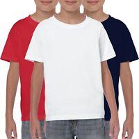 3 Pack Gildan Childrens T-Shirt Plain Boys Girls T Shirts White Black Red Blue