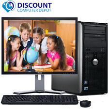 """Dell 10 Windows Optiplex Tower Computer PC Core 2 Duo 4GB 1TB DVD 17"""" LCD"""