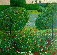Quality Hand Painted Oil Painting Gustav Klimt Field of Poppies Repro II 36x36in