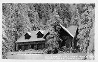 Frashers RPPC Snow Covered Sierra Club Lodge Snow Crest Camp, California~111019