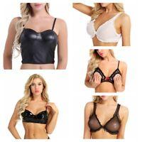 Women's Sexy Lingerie Cami Tank Top Wetlook Faux Leather Bra Top Vest Crop Top