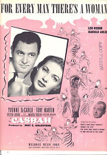 """CASBAH Sheet Music """"For Every Man There's A Woman"""" Yvonne deCarlo Tony Martin"""