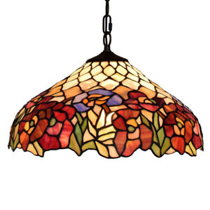 Vintage Stained Glass Pendant Light Tiffany Mission Style Hanging Ceiling Lamp