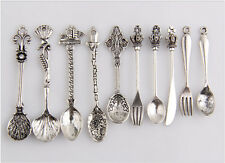 10pcs Mixed Knife Fork Spoon Antique Silver Tone Alloy Pendants Findings 21C