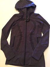Women's LULULEMON Purple STRIDE JACKET Size 2 Heathered BLACK SWAN HERRINGBONE