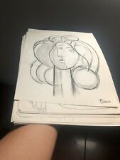 PABLO PICASSO'S PENCIL DRAWINGS ON PAPER SIGNED SEALED BIG LOT 26 PIECES