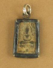 Buddha pendant. Sitting Buddha. Thai amulet. Square. Silver hoop.