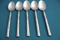 5 Place Oval Soup Spoons Hampton Silversmiths BAMBOO Stainless 7 3/4""