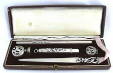 Très beau nécessaire écriture métal argenté, ajouré, Art Nouveau, excellent état