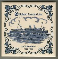 Holland America Line  Blue Delft Tile...Vintage..ss Volendam 1 ...1922 - 1952