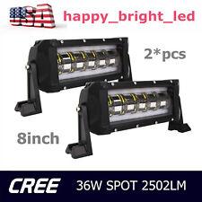 2X 8inch 30W LED Work Light Bar Spot Driving Truck Lamp Strobe Flash Single Row