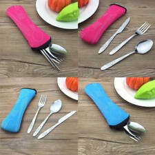 Nice 3PCS Stainless Steel Knife Fork Spoon Bag Travel Camping Cutlery Portable