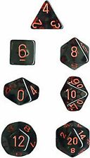 Chessex Translucent Polyhedral dice set smoke with red numbers 7 die set