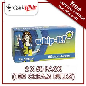 100 Whip-it Cream Chargers - 50 PACK X 2 8g Pure Nitrous Oxide (N20 Bulbs)