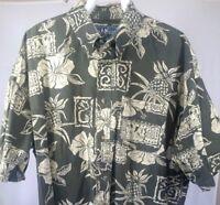 Big Dog Mens XL Hawaiian Shirt Green Short Sleeve Aloha Camp Resortwear Cotton