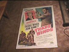 TRADE WINDS  1938 ORIG MOVIE POSTER FREDERIC MARCH JOAN BENNETT
