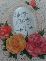 UNUSED Vtg Embossed ROSES SATIN PUFF Pillow Wallace Brown BIRTHDAY GREETING CARD