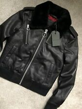 "ALL SAINTS WOMEN'S BLACK ""CARPEN"" LEATHER BOMBER JACKET COAT - UK 8 - NEW & TAGS"