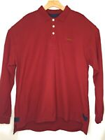 Orvis Mens Polo Rugby Classic Cotton Red Fly Fishing Shirt Long Sleeve Size XL