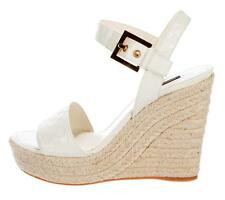 $695 New LOUIS VUITTON White CHECKERS 38 Patent Espadrille Wedge Sandals Shoes