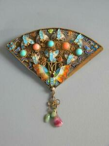Rare Chinese 925 Sterling Gold Vermeil Filigree Enamel Turquoise & Coral Brooch