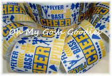 "3"" CHEER * WORDS * ROYAL YELLOW GOLD CHEERLEADER SPIRIT RIBBON FOR TIC TOC BOW"