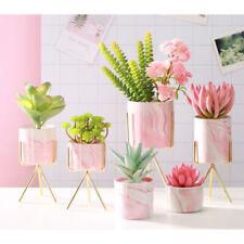 Ceramic Plant Pot Plants Stand Marble Flowerpot Pot Vase Planter with Holder