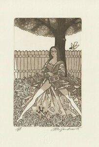 "Ex libris Exlibris ""Girl with a book"" by ALEXANDROV GENADIY / Czech"