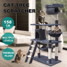 158cm Cat Tree Scratching Post Scratcher Pole Gym Toy House Furniture Multi Grey