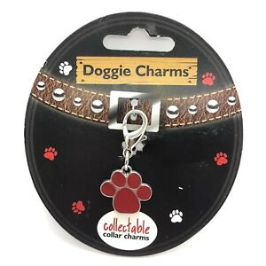 Dog Collar Charm Red Paw Hooks on to Dog Collar by Doggie Charms New