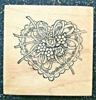 """Vintage Rubber Stamp """"Love You, Mom! Flower Heart"""" by PSX Designs 2 x 2"""""""