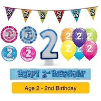 Happy 2nd Birthday AGE 2 Party Balloons Banners Badges Helium Decorations BOY