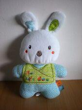 Doudou Lapin Nicotoy bleu blanc Mon lapin motif train