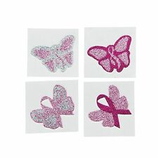 Breast Cancer Awareness Butterfly Pink Ribbon Glittery Tattoo Stickers Set of 6