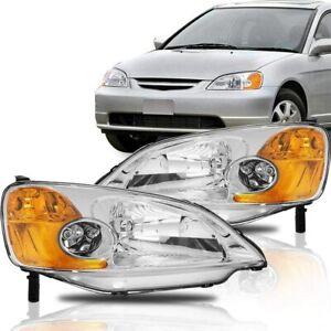 For Honda Civic 2001-2003 [Chrome/Amber] Crystal Corner Headlight Headlamps