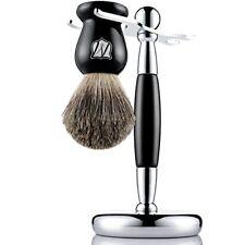 Soporte Para Maquinilla De Afeitar Brocha De Pelo De Tejón Natural Color Negro