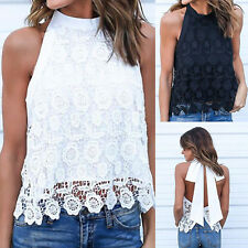 Summer Women Sleeveless Lace Vest Backless Bandage Tank Tops Blouse T Shirt Tee