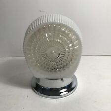 Antique art deco 40s era clear milk glass shade new chrome light fixture sconce