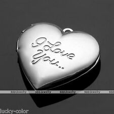 I Love You Heart Flower Picture Photo Frame Locket Pendant Bead For Necklace DIY