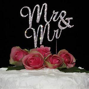 Mr & Mr Gay Wedding Cake Toppers Rhinestone/Diamonte
