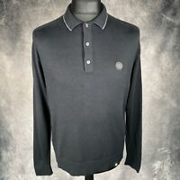 "PRETTY GREEN Black Long Sleeve Polo Jumper Medium Thin Knit Wool Blend PTP 21"""